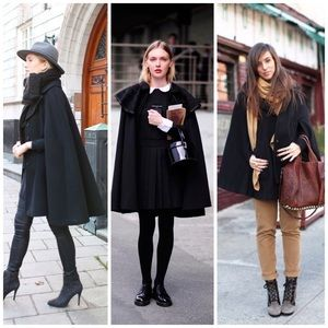 Jackets & Blazers - EUC designer black velvet cape & shearling collar
